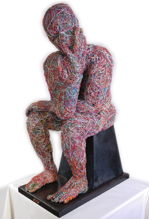 One Point Four (1.4) The Thinker. Contemporary Quarter Life-Sized Indoor Sculpture. By Artist Craig Clarke  Please phone or email to arrange a viewing.   UK Customer Pick-up ONLY
