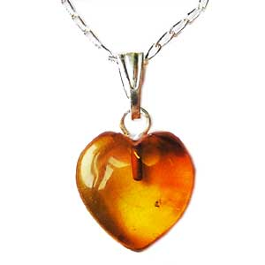 Baltic Amber Heart Pendant. 1cm Cabochon on 18inch Silver Chain. Boxed